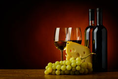 Cheese, wine and grapes Royalty Free Stock Photo