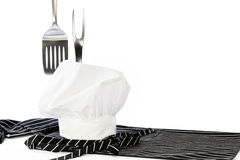 Chef Hat Apron Spatula Fork Royalty Free Stock Photography