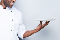 Chef with plate. Stock Image