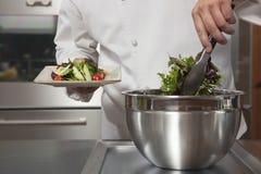 Chef Preparing Leaf Vegetables In Commercial Kitchen Stock Image