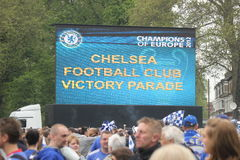 Chelsea victory parade on a big screen in Fulham Royalty Free Stock Image