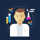 Chemist scientist lab vector illustration Stock Photos