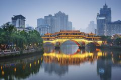 Chengdu, China op Jin River Stock Afbeelding