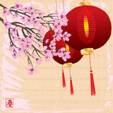 Cherry blossom spring card Royalty Free Stock Images