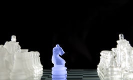 Chess game figures on black background Royalty Free Stock Image