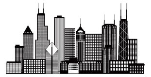 Chicago City Skyline Black and White Vector Illustration Stock Image