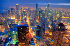 Chicago Skyline at Night. Royalty Free Stock Photography
