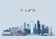 Chicago United States City Skyline Vector Trendy Stock Images