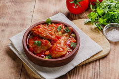 Chicken in tomato sauce in a bowl Stock Image