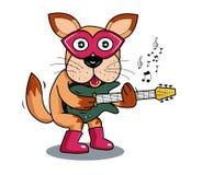 Chien d'illustration jouant la guitare électrique Images libres de droits