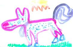 Child painting dog Stock Images