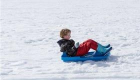 Boy sledding Stock Image