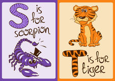 Children Alphabet with Funny Animals Scorpion and Tiger. Stock Photos