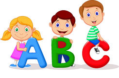 Children cartoon with ABC alphabet Royalty Free Stock Images