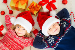 Children with Christmas decorations Royalty Free Stock Photos