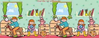Children and toy- find 10 differences Royalty Free Stock Images