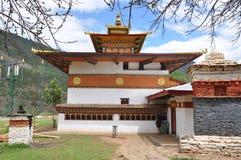 ChimeLahkhang tempel i Bhutan Arkivfoto