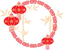 Chinese Frame with Lanterns and Bamboo Background Stock Photography