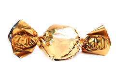 Chocolate candy in golden wrapper Stock Photography
