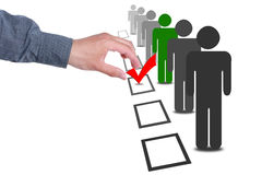 Choose people in selection election vote boxes Royalty Free Stock Images