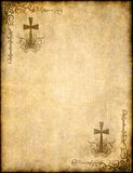 Christian cross on old paper or parchment Stock Photo