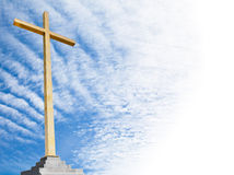 Christian cross with sky background. Religion template or frame. Royalty Free Stock Photo