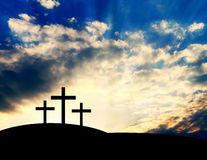 Christian Crosses on the Hill Stock Images