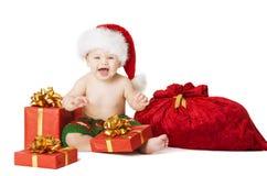 Christmas Baby Kids, Child Present Gift Box And Santa Bag Royalty Free Stock Image