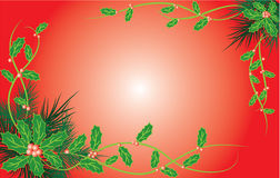 Christmas background with mistletoe and a fur-tree, vector Royalty Free Stock Photos