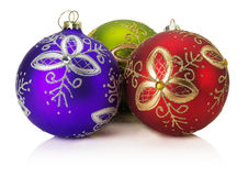 Christmas balls with golden ornament isolated on the white backg Royalty Free Stock Photo