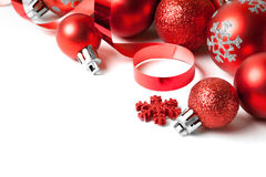 Christmas border with red ornament Stock Images
