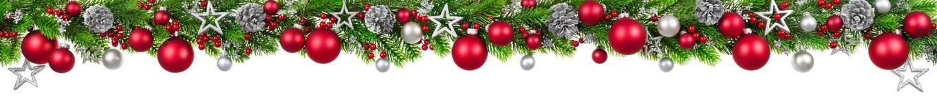 Christmas border on white, extra wide Stock Photo