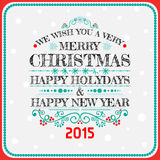 Christmas card decoration. Typography, Vector Royalty Free Stock Photo