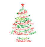 Christmas Card Word Cloud tree design Royalty Free Stock Image
