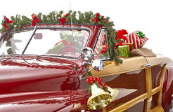 Christmas decorated classic car Stock Image