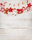 Christmas Decoration Toys Hanging White Wood Wall Background Royalty Free Stock Photo
