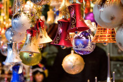 Christmas decorations of balls and bells Stock Images