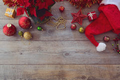 Christmas decorations and ornament on wooden background. View from above with copy space Royalty Free Stock Photography