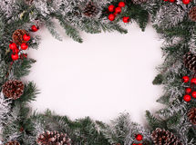Christmas decorative border with holly berries Royalty Free Stock Photo