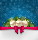 Christmas elegance card with fir branches and glass balls Royalty Free Stock Photography