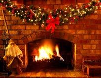 Christmas Fireplace Stock Photography