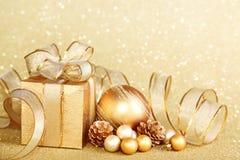 Christmas gift box with christmas ball Royalty Free Stock Image