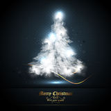 Christmas Greeting Card with Tree of Lights Royalty Free Stock Photos