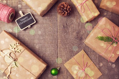 Christmas handmade wrapping gift  boxes background. View from above Royalty Free Stock Images