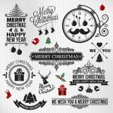 Christmas happy new year vintage orntae label set Royalty Free Stock Photo