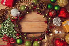 Christmas holiday background with Christmas wreath and decorations Royalty Free Stock Images