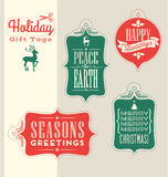 Christmas Holiday gift tags vintage typography design elements Royalty Free Stock Photo