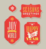 Christmas Holiday gift tags vintage typography design elements Royalty Free Stock Image