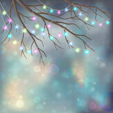 Christmas Light Bulbs on Xmas Night Background Royalty Free Stock Photography