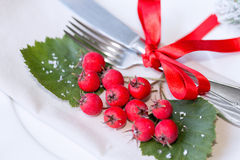 Christmas And New Year Holiday Table Setting. Celebration. Place setting for Christmas Dinner. Holiday Decorations. Decor. Stock Image